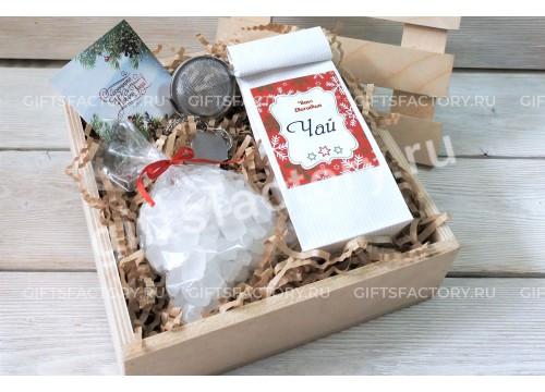 Подарок Чайный набор в реечном ящике